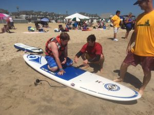 Mike Halm getting instructions before going surfing during 2017 Surfing for Vision in Long Branch